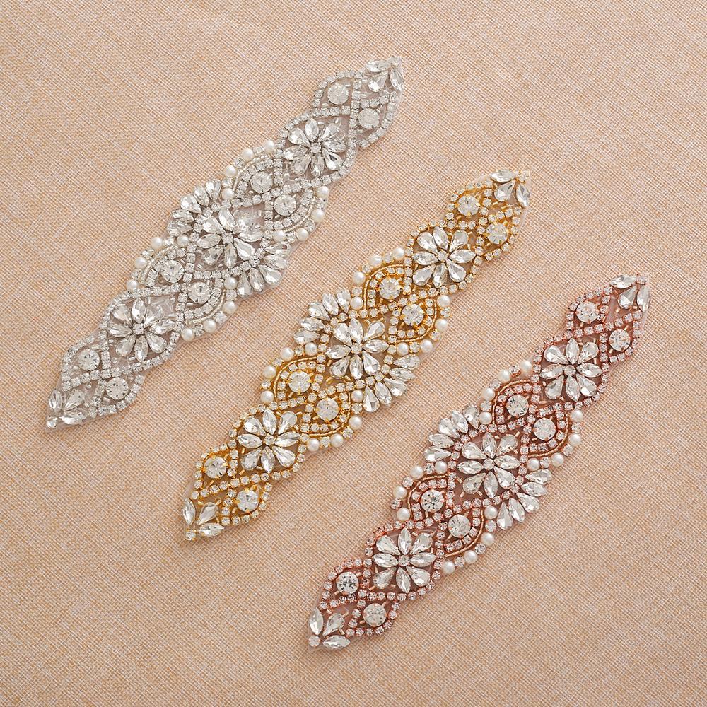 Wedding Applique With Crystals  Rhinestone Bridal Belt Silver Rose Gold Sew On Wedding Dress Accessories Iron On