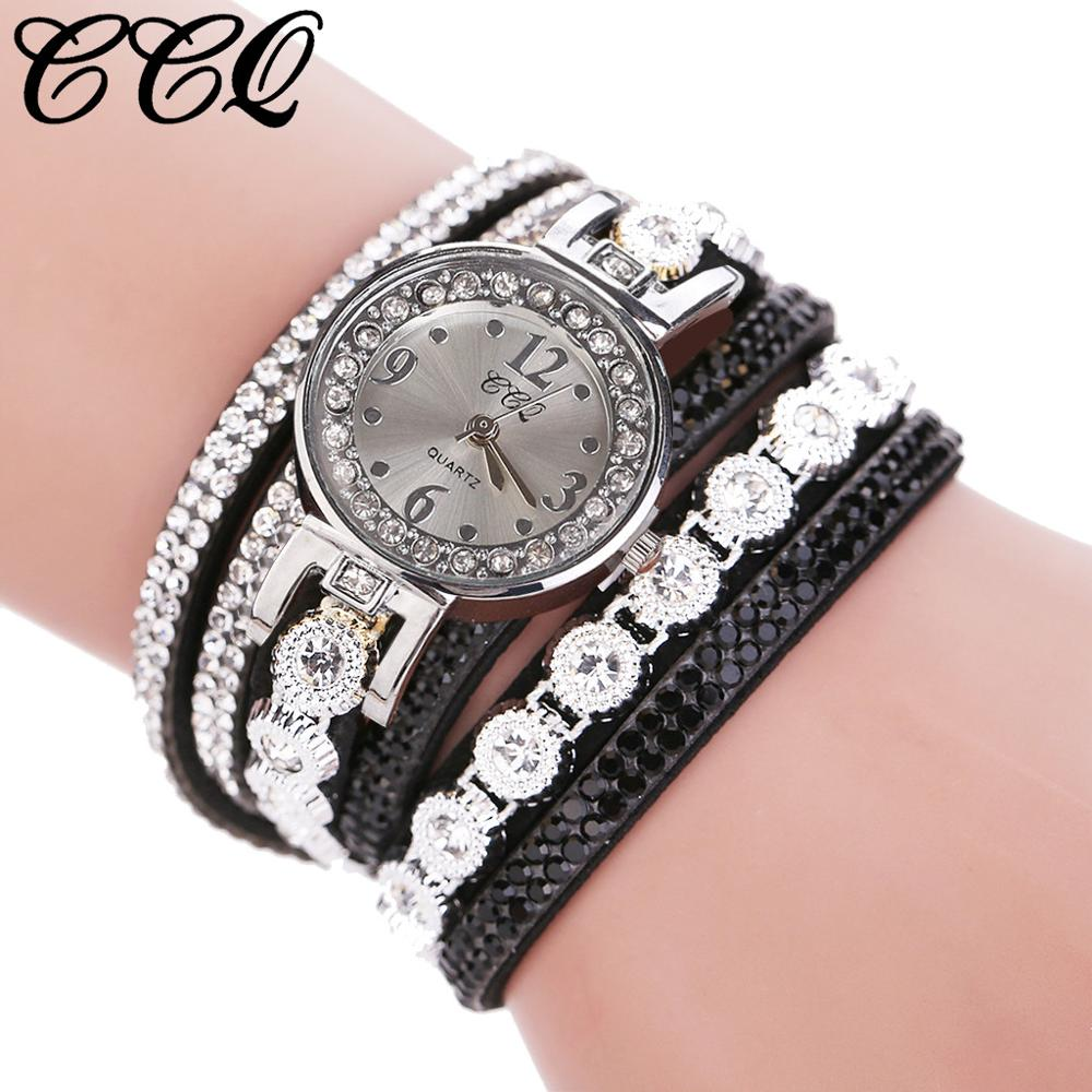 2019 CCQ Women Vintage Shining Crystal Bracelet Dial Analog Quartz Wrist Watch Women Watches Fashion Casual Bracelet Watch