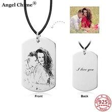 АС 925 стерлингового серебра персонализированные эскиз фото кулон ожерелье ювелирные изделия подгонять слова памятный подарок на юбилей