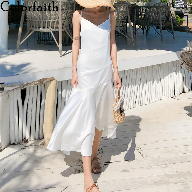Colorfaith New 2020 Women Summer Sundress V-Neck Beach Holiday Backless Sexy Satin Trumpet Fashionable White Long Dress DR8067