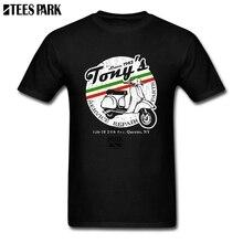 Graphic Tees Vintage Look Vespa Black T Shirt Mens O Neck Short Sleeve Motorcycle Summer Youth Sale Printing 2019