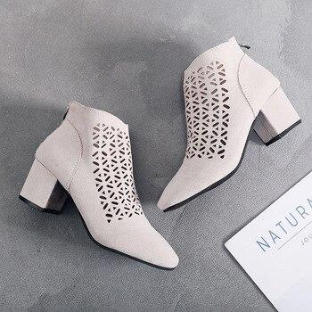 ฤดูร้อนรองเท้าตัดรองเท้าหนังนิ่มรองเท้าผู้หญิง Chunky ส้นสแควร์หัว Fairy รองเท้า Breathable ผู้หญิงรองเ...