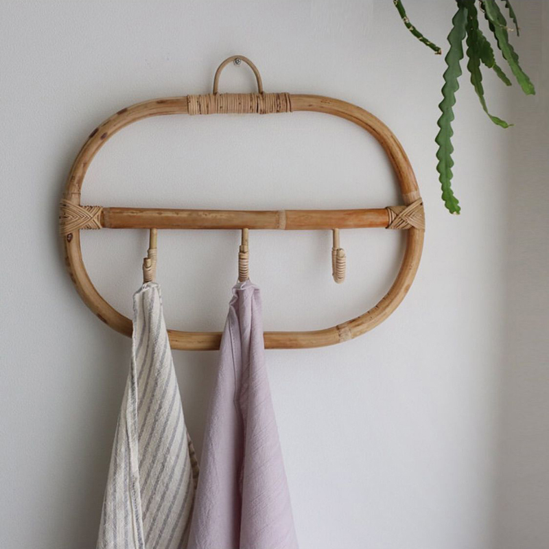 Rattan Wall Hooks Clothes Hat Hanging Hook Crochet Nordic Vintage Cloth Holder Organizer Hangers Decor For Home Hotel Dorm Decor