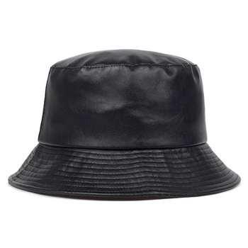 Faux leather Panama bucket Bucket Hat Bucket Hat Double Sided Hat PU&COTTON Solid Ladies Fashion Bucket Cap Panama Fisherman Cap панама bucket hat cotton l синяя