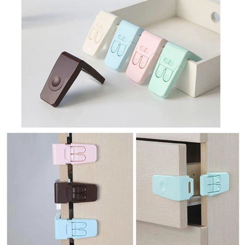 10Pc/lot Baby Safety Lock Drawer Lock Protection Baby Safety Drawer Anti-clipper Right Angle Lock
