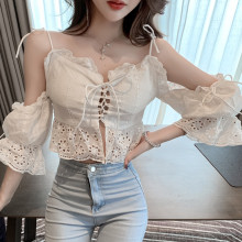 Women Ruffles Slash Neck Short Flare Sleeve Hollow Out Cropped Shirts Girls Lace