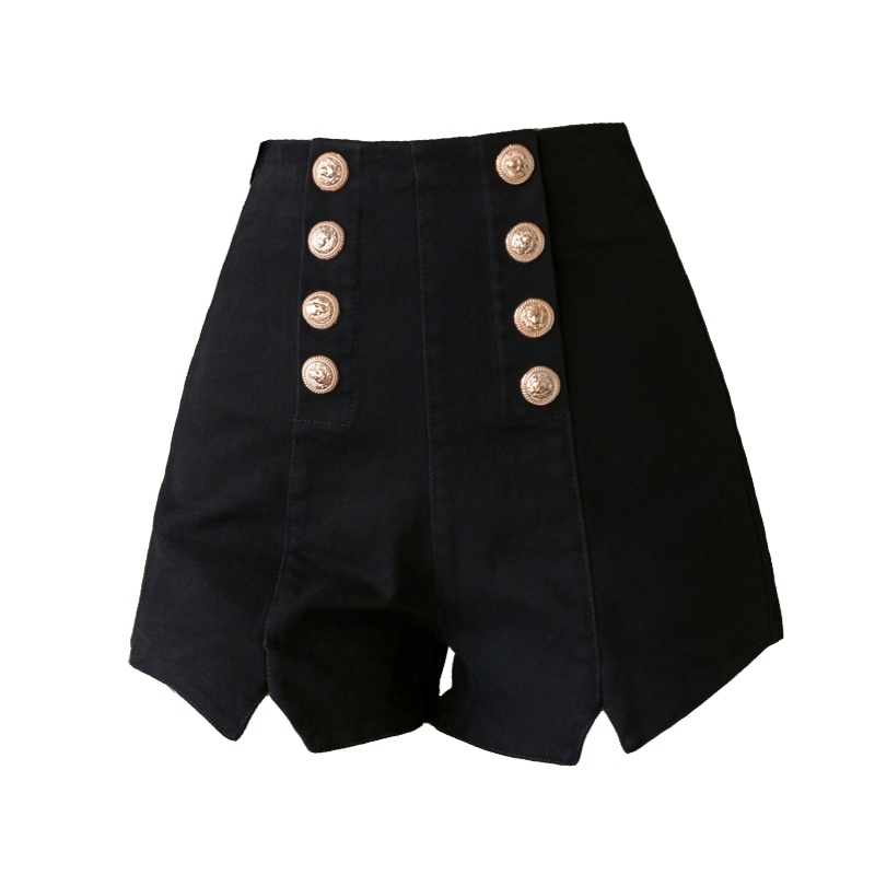 Lucyever Sexy Club Women Shorts Fashion Double Breasted Elastic High Waist Summer Black Harajuku Zipper Wide Leg Shorts 2020