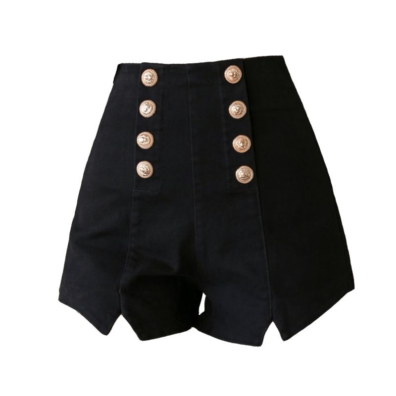 Lucyever Sexy Club Women Shorts Fashion Double Breasted Elastic High Waist Summer Black Harajuku Zipper Wide Leg Shorts 2020