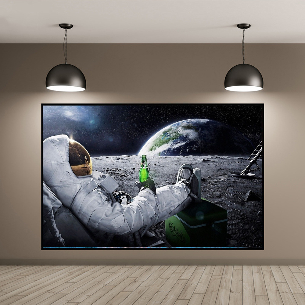 Wall Art HD Printed Canvas Painting Beers Outer Space Earth Astronauts Moon Cuadros Poster Prints Wall Pictures for Home Decor(China)