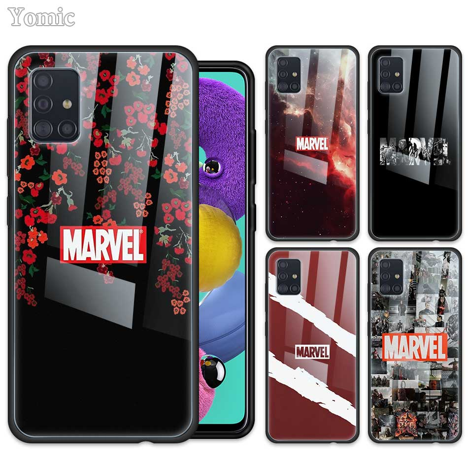 Tempered Glass <font><b>Case</b></font> for <font><b>Samsung</b></font> <font><b>Galaxy</b></font> A50 A51 A70 A71 5G A01 A10 A11 A20 A21 <font><b>A30</b></font> A31 A40 A41 M51 M31 Cover <font><b>Marvel</b></font> Comics <font><b>Logo</b></font> image