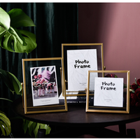 Wrought Iron Geometric Photo Frame Set Up Nordic Wind Photo Metal Glass Bracket Home Personality Creative Decoration Ornaments