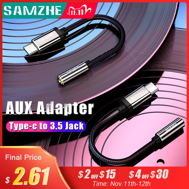 SAMZHE Type C to 3.5 Jack Earphone Cable USB C to 3.5mm AUX Headphones Adapter For Huawei mate 10 P20 pro Xiaomi Mi 6 8 Nubia