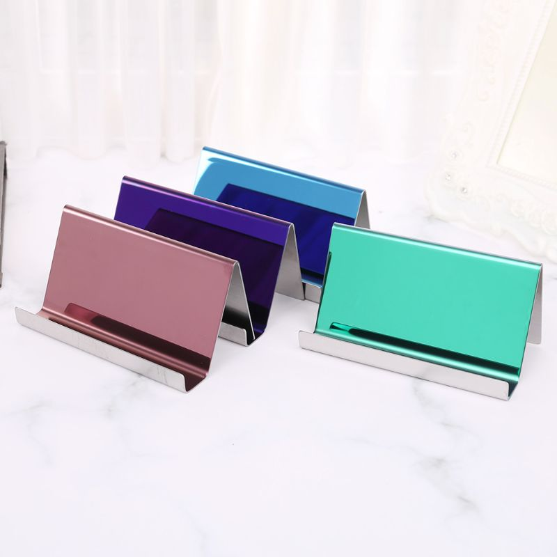 High-End Stainless Steel Business Name Card Holder Display Stand Rack Desktop Table Organizer 8 Colors l29k 2