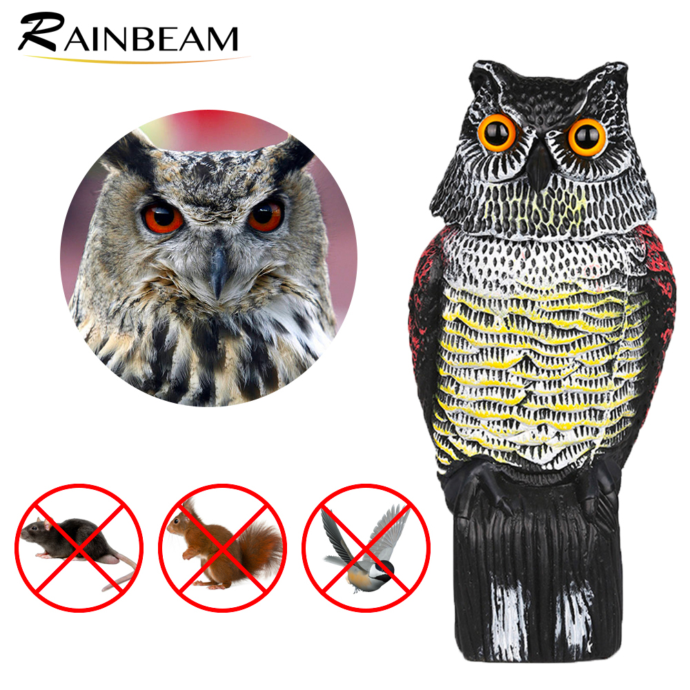 Large Realistic Owl Decoy Rotating Head Weed Pest Control Scarecrow Fake Owl Statue to Scare Bird Away for Patio Yard Garden