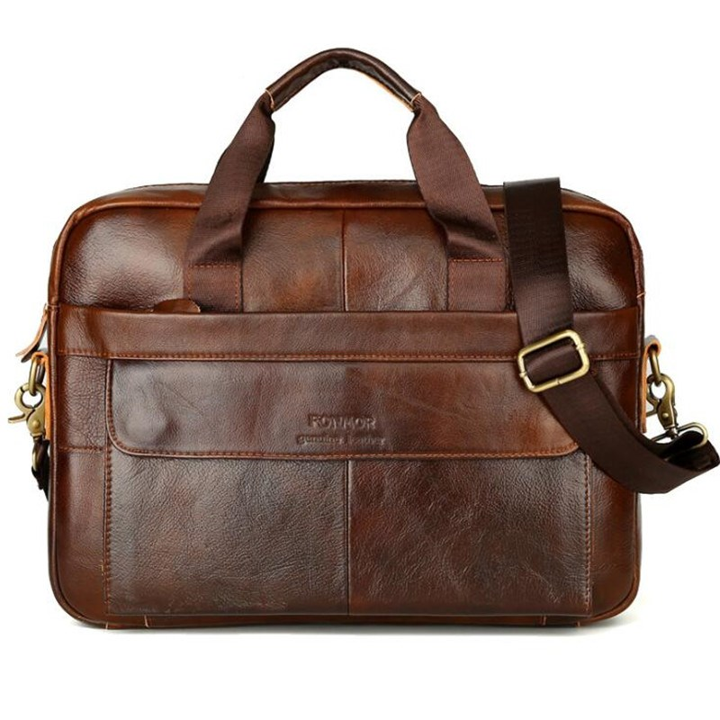 Men Handle Shoulder Briefcase 2019 New Genuine Leather Sewing Thread Zipper Casual Diagonal Bag Handbag