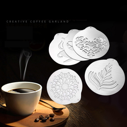 5-Piece Creative Kitchenware Coffee Latte Art-Piece Coffee Shop DIY Mold Portable Stainless Steel Coffee Printing Board