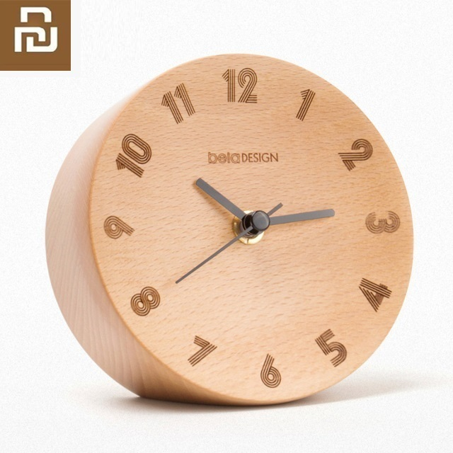 Youpin Nordic Minimalist Decoration Small Pendulum Clock Wood Mute Sweeping Home Office Alarm Clock
