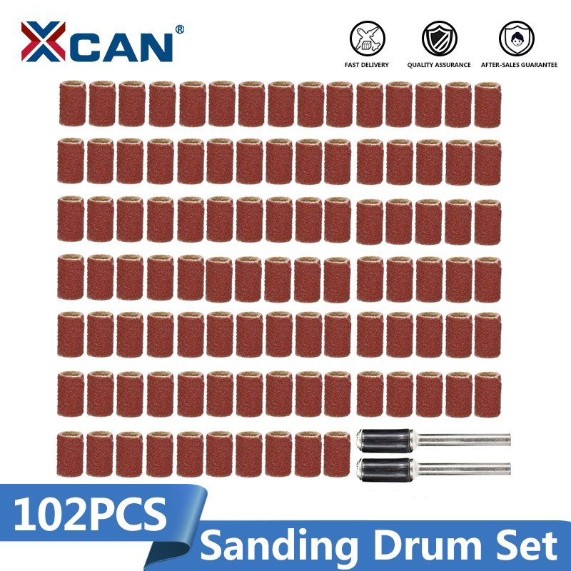 XCAN Rotary Tools 102pcs 120# Sanding Bands Set With 6.35mm Mandrels Nail Electric Drill Machine Grinding Sand Ring Bit