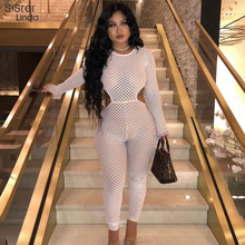 Sisterlinda Sheer Mesh Patchwork Sexy Jumpsuit Women Full Sleeve Hollow Out Jumpsuit Mujer Playsuit Round Neck Bodysuit 2019Fall
