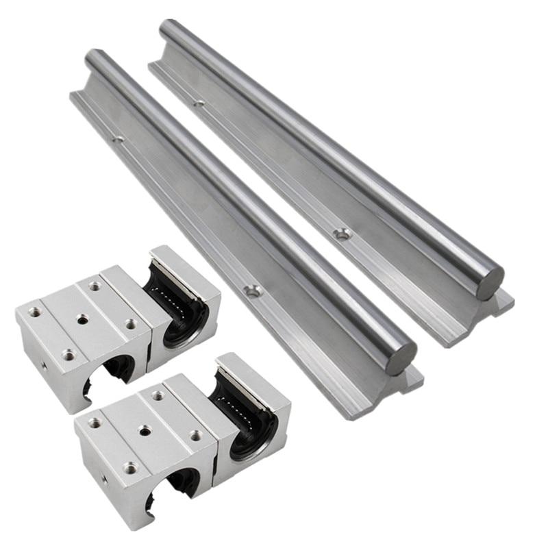 2 pièces SBR16 16mm rail linéaire n'importe quelle longueur support rond rail de guidage + 4 pièces SBR16UU bloc coulissant pour CNC - 2
