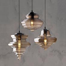 Luz pingente de vidro nórdico luzes led pendurado e27 decoração fumaça cristal cinza design sala estar e jantar luminárias designer barra