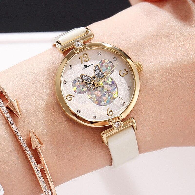 Дисней Микки часы женщины водонепроницаемый мода тренд кварц часы средний школьный школьники пояс горный хрусталь дети% 27 часы