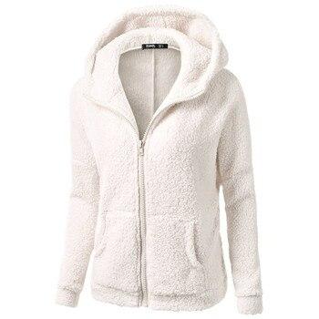 Invierno Mujer Chaquetas de lana negro blanco rojo con cremallera con capucha sudadera básico Simple bolsillos sudor chaquetas de camisa de talla grande