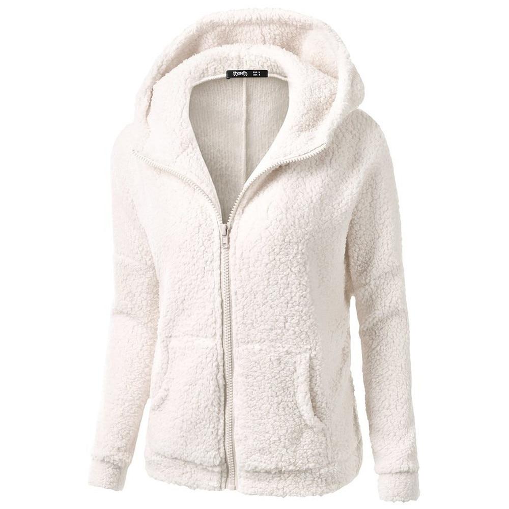 Kış bayan polar ceketler katı siyah beyaz kırmızı fermuar kapüşonlu Sweatshirt basit temel cepler kazak palto artı boyutu
