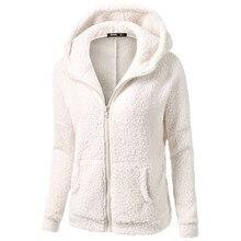 Winter Womans Fleece Jackets Solid Black White Red Zipper Hooded Sweatshirt Simple Basic Pockets Sweat Shirt Coats Plus Size