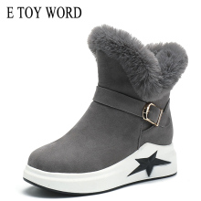 E TOY WORD Women's snow boots female 2019 new winter thick warm flat boots non-slip cotton shoes women thick sole casual Booties цены онлайн