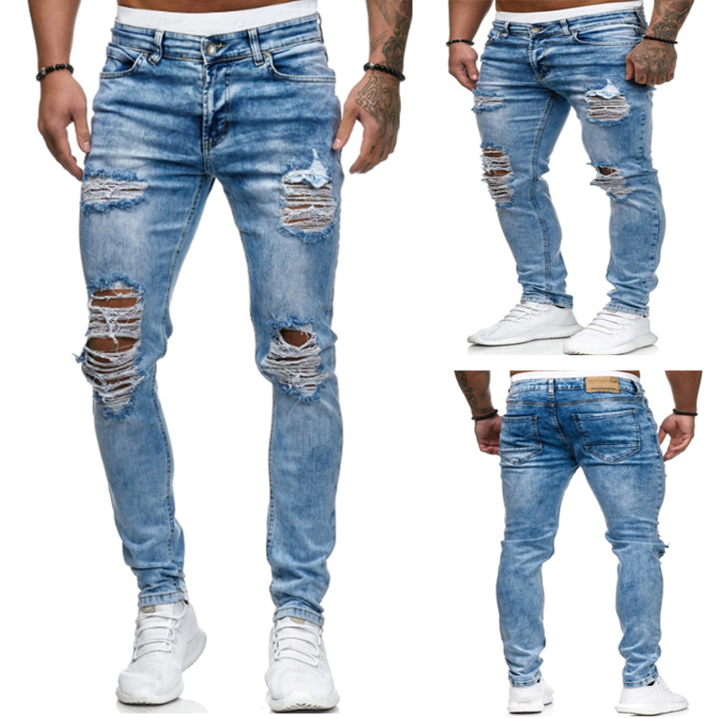 Destroyed Ripped Jeans Men 2020 Skinny Mens Sexy Hole Stretch Denim Trousers Spring Thin Straight Pencil Jeans Long Pants Male