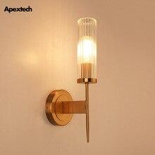 Lámpara de pared de cristal arte del hierro dorado lámpara de noche Retro americana E27 Base dormitorio Hotel habitación Luz de pared para corredor lámpara