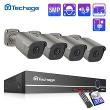 H.265 8CH 5MP HD POE Sicherheit Kamera System NVR Kit Zwei Weg Audio IP AI Kamera IR Im Freien Wasserdichte CCTV video Überwachung Set