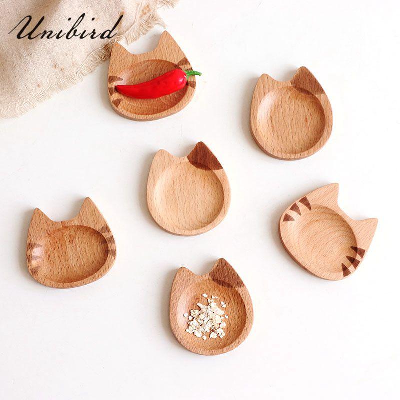 Unibird Mini Cat Shape Dish Japanese Style Cartoon Sauce Dish Creative Wooden Flavoring Sushi Mustard Plate Soy Tray
