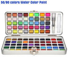 Ensemble de 50/90 couleurs Aquarelle avec pinceau à eau, peinture à l'huile Aquarelle Acuarela, pigments solides, fournitures d'art