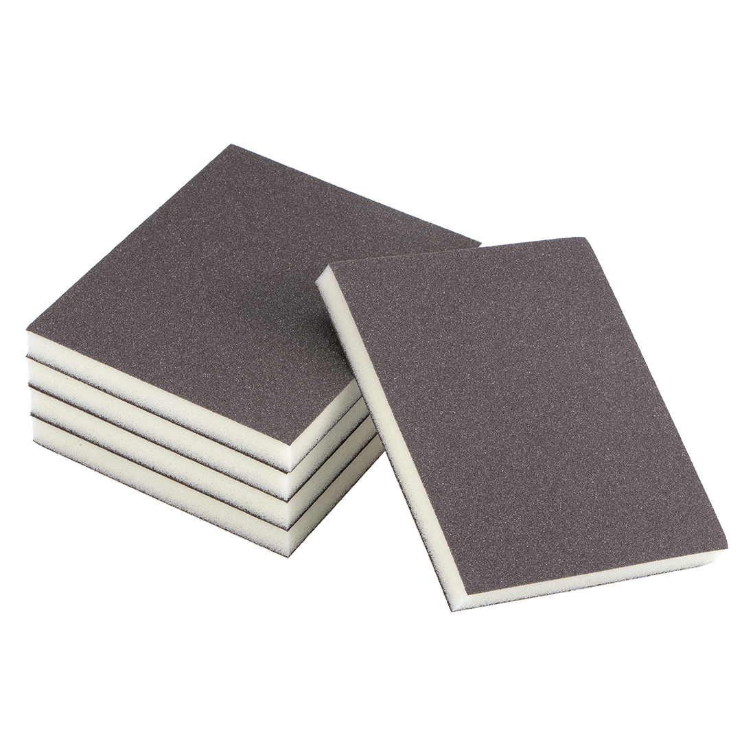Uxcell 5pcs Sanding Sponge Sanding Block Pad 4.7 X 3.9 X 0.5inch Brown For Wood Paint Metal Kitchen Plastic Or Drywall