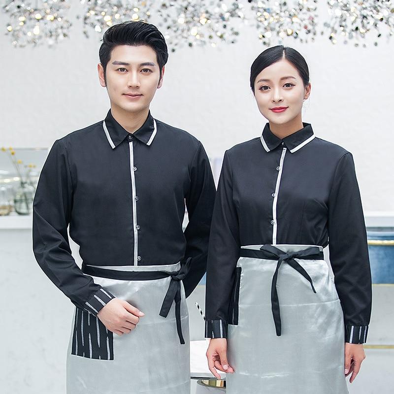 Рубашка с длинным рукавом + фартук, униформа официанта для ресторана, женская униформа официантки, Комбинезоны для персонала кафе, униформа