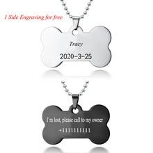 Custom Pet Necklace Personalized Jewelry Dog Anti-Lost Pendant Engrave Name CAT Tag Bone Shape 60CM