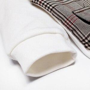 Image 4 - Dziecko Gentleman strój niemowlę dziecko chłopców ślubne formalne odzież zestaw maluch prezent urodzinowy garnitur w kratę koszula spodnie kostium 5 sztuk