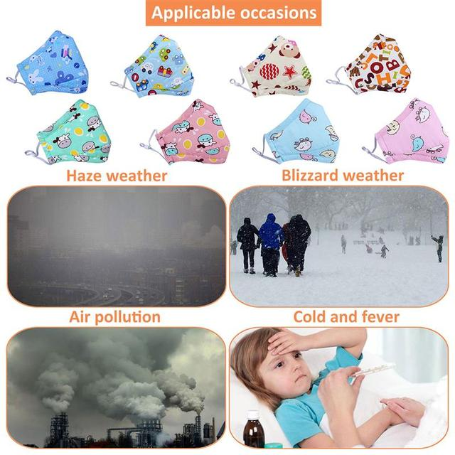 1pc Mouth Masks Cartoon Printing Dustproof Breathable PM2.5 Kids Cotton Mouth Face Nose Mask Cover Anti-Dust Random Color 2
