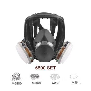 7 In 1 6800 Industriële Schilderen Spuiten Respirator Gasmasker 2 In 1 Pak Veiligheid Werk Filter Stof Volledige Gezicht masker Vervangen 3M