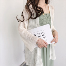 Autumn new style Korean version of loose lazy open stitch Loose thin shirt sun protection clothing knitted jacket