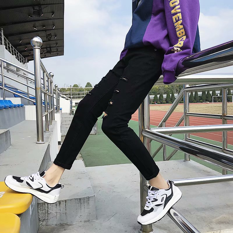 New Style Spring And Autumn Black Jeans Men Casual Skinny Korean-style Trend Teenager Elasticity With Holes Capri Pants