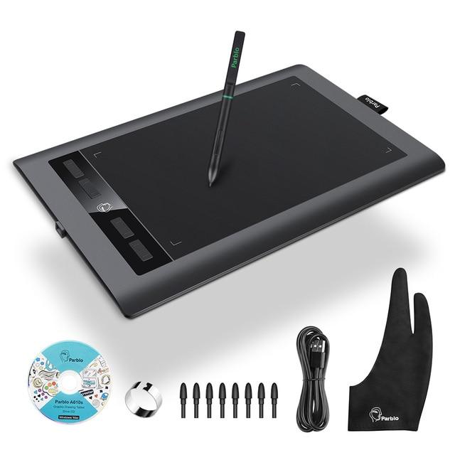 """Parblo tableta gráfica Digital de arte A610S, tablero de pintura de dibujo, bolígrafo sin batería de área activa de 10x6 """"con 8192 niveles de presión"""
