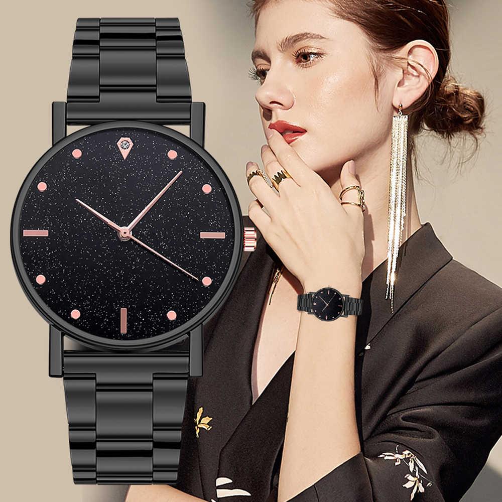 Siyah kadın için 2020 üst marka lüks yıldızlı gökyüzü bayan paslanmaz çelik şerit Analog kuvars kol saati Dropship için