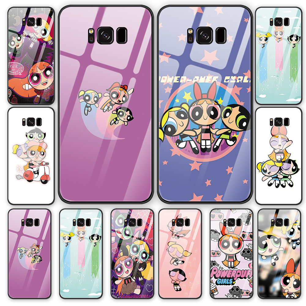 Cute Cartoon Power Puff Girl tempered glass back cover phone <font><b>case</b></font> shell For <font><b>Samsung</b></font> Galaxy S8 S9 S10 Plus <font><b>Note8</b></font> Note9 <font><b>case</b></font> cover image