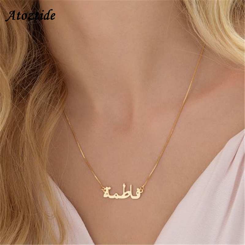 Atoztide 2019 New Stainless Steel Personalized Custom Name Necklace Gold Choker Chinese Arabic Necklace Pendant Nameplate Gift