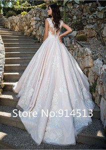 Image 2 - מרתק O צוואר אונליין חתונת שמלת טול עם תחרת אפליקציות כדור שמלת שמלות כלה כפתור חזרה Vestido דה Noiva