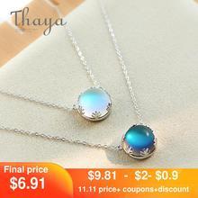 Thaya – Collier pendentif aurore boréale en cristal de 55cm pour femme, pierres précieuses lumineuses et élégantes, en argent sterling 925, bijoux cadeau