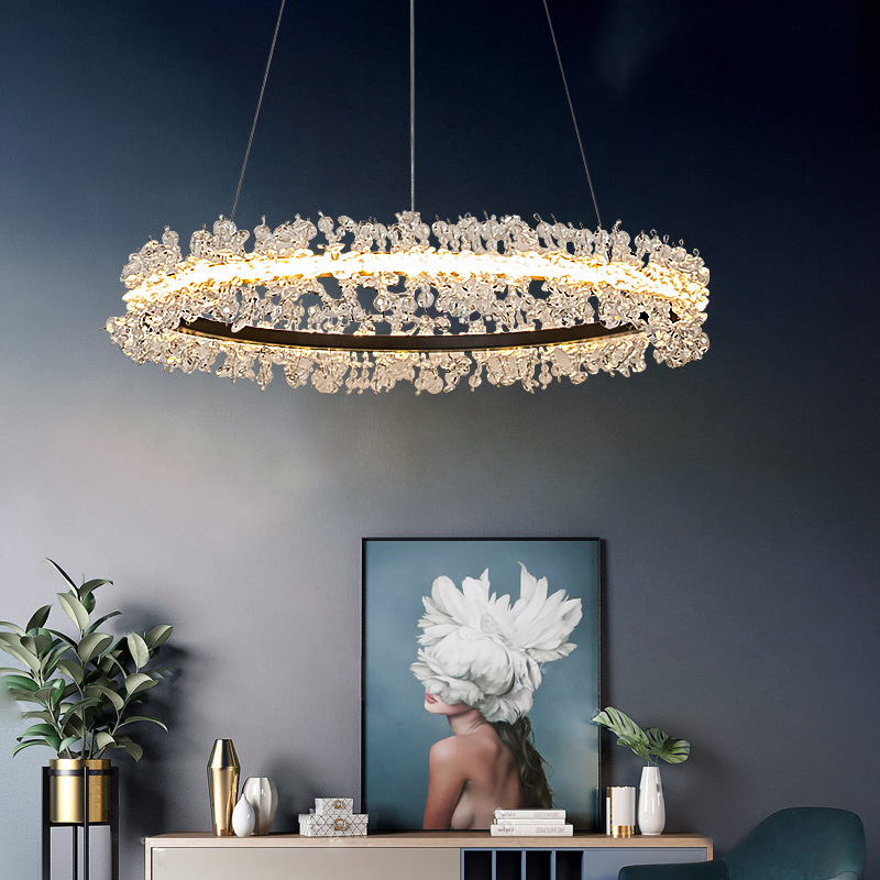 Postmodern LED Pendant Lights Nordic Crystal Hanging Lamp Home Deco Luxury Suspension Luminaire For Living Room Hotel Lobby